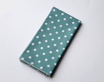 Men's Green Polka Dot Pocket Square, Wedding Pocket Square, Grooms Pocket Square