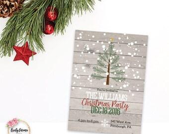Christmas Tree - Snow - Christmas or Holiday Party Invitation - Printable Invitation - Digital Invitation