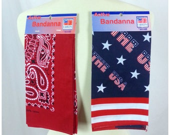 Vintage Bandannas Deadstock / 80's Independance day 4th of July picnic America patriotic red white and blue paisley bandannas set of 2 tags