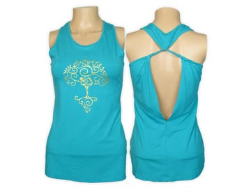 Tree of Life Yoga Dancer Shirt- Open Back Extended Length Tank Top- WK4