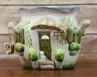 Ceramic Garden Cottage Candle Holder with Butterfly | Fairy Tale House | So Cute!