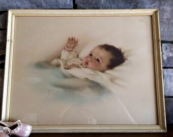 SALE Antique/Vintage Bessie Pease Gutmann Awakening Framed Wall Decor Nursery