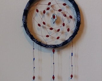 Navy and ruby red dreamcatcher