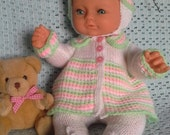 Delightful 3 piece pram set lovingly hand knitted in pretty Spring colours. Fits 16 to 18 inch baby doll ie Baby Annabell
