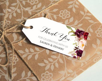 Burgundy Floral Gift Tag Template, Printable All Purpose Wedding Thank You Tag, Name Tag, Favor Tag, Emblem, Rustic DIY PDF Download #101