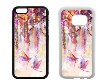 Rubber case iPhone 8 7 6S 6 Plus, SE X 5S 5C 5 4S, Samsung Galaxy S8 Plus, S7 S6 Edge S5 S4 dragonfly gifts, floral bumper phone cover. R302