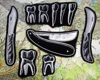 Knives & teeth sticker pack - tooth sticker teeth stickers goth stickers laptop stickers knife sticker straight razor sticker dark sticker