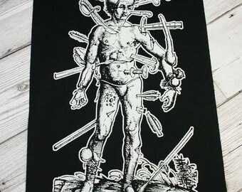 Pain back patch - black metal back patch, goth back patch, heavy metal patch, death metal patches, black magic patch, medieval art, dark art
