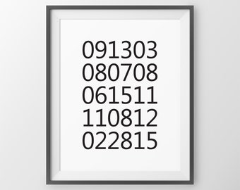 Special Keepsake Dates Print, What a difference a day makes, birth dates print, keepsake gift, custom dates print, anniversary gift