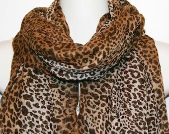 Womens Scarf, Leopard Print Scarf, Chiffon Scarf, Voile Scarf, Cotton Scarf, Fashion Scarf