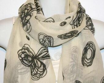 Womens Scarf, Wool scarf, Floral scarf,  Womans Scarf