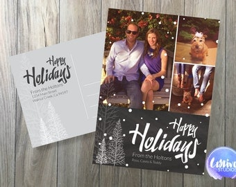 Holiday Christmas Postcard // Christmas Card // Chalkboard