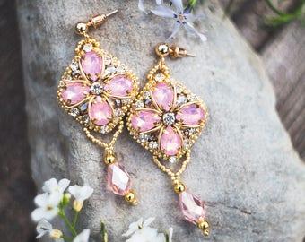 Pink earrings opal earrings dangle earrings embroidery earrings beaded earrings rhinestone earrings bride earrings bridesmaid earrings
