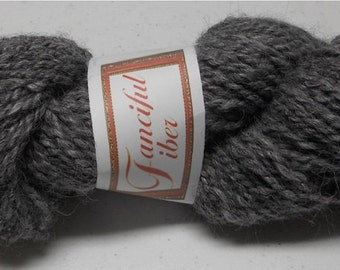 Handspun 100% Alpaca Yarn 2-Ply Gray Grey (8)