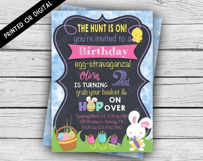 Printed Double-Sided - EASTER EGG Hunt BIRTHDAY Invitation - Girly, Girl Birthday Invite, Custom Invites, Stationery, Party, Celebrate