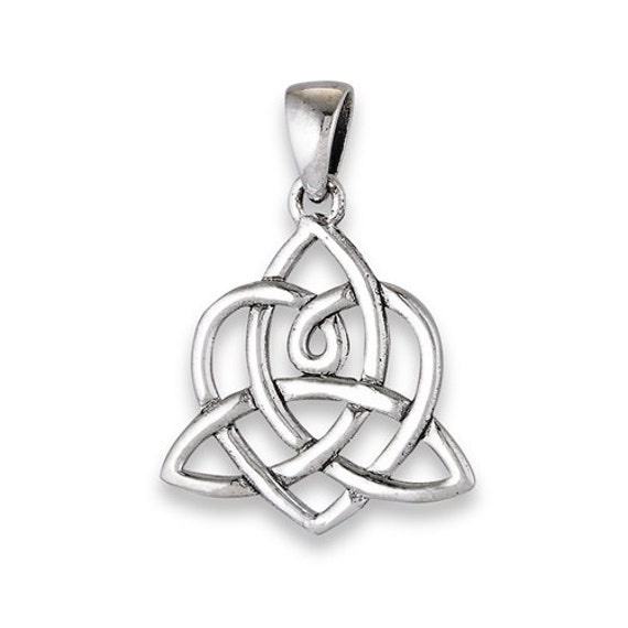silver interwoven and triquetra pendant on 18