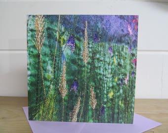 Wildflowers card - blank card - greetings card - embroidery greetings card - nature lover - art card - printed card - artist prints