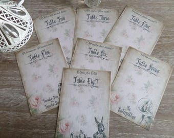8 Vintage Alice in Wonderland Table Plan Name Cards Wedding,Tea Party