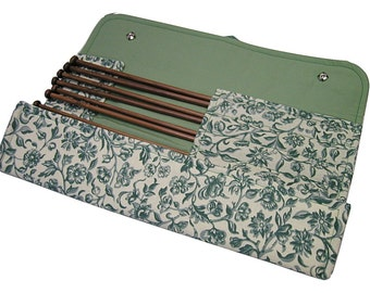Handmade large knitting needle case, William Morris Merton Green, knitting needle organiser, holder, knitting needles