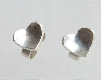 Sterling Silver domed heart stud earrings, tiny silver heart earrings, everyday silver studs, heart earrings, 925 silver