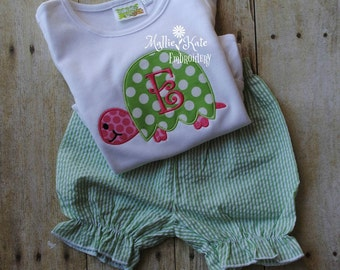 Appliqued Turtle Shirt with Bloomer Shorts