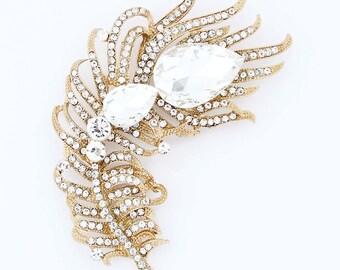 Rhinestone Feather Brooch, Gold Crystal Sash Brooch, Gold Wedding Brooches, Large Gold Broach, Bridal Bridesmaid Dress Gold Brooches