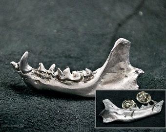 Jawbone Pin- bone pin, bone jewelry, strega jewelry, goth jewelry, vulture culture, taxidermy, paleo jewelry, primitive jewelry, bone brooch