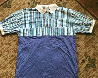 VTG 80s 90s Striped Pastel Color Block Polo Style T-Shirt