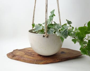 Hanging Planter - Hanging pot for small plants - Matte off white Handmade Ceramic hanging planter - succulent and small plants