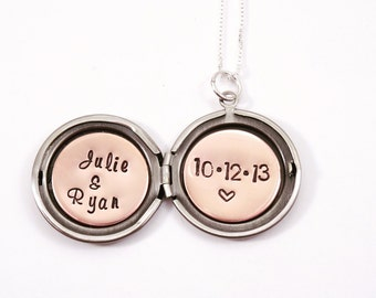 Wedding date necklace - Personalized locket - Anniversary date necklace - Locket necklace - Custom date necklace - Secret message locket