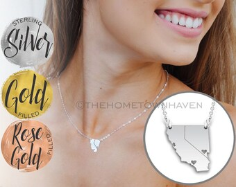 California Nevada Necklace - Las Vegas Necklace, Vegas Road Trip, Bachelorette Party Gift