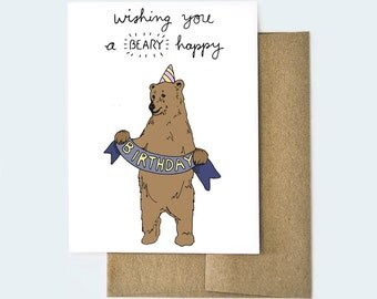 Bear Birthday Card | Punny Birthday Card | Handmade Birthday Card | Funny Birthday Card