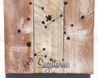 Sagittarius Constellation Pallet Sign - Zodiac Reclaimed Wood Sign