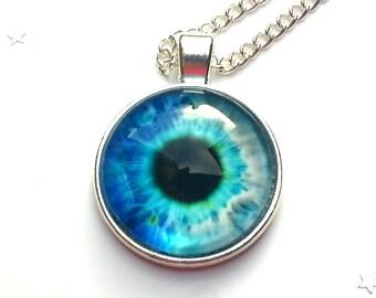 Blue eyeball pendant- eye necklace - eye jewellery - eye pendant - gothic jewellery