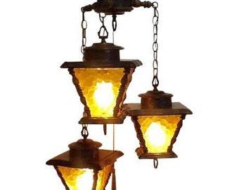 Mid Century Amber Glass 3 Lantern Swag Lamp