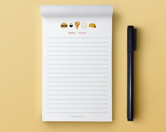 Funny Notepad | MMM...Food Notepad | Notepad | Grocery List Notepad |Shopping List Notepad | 4x6 Notepad | 50 Page Notepad