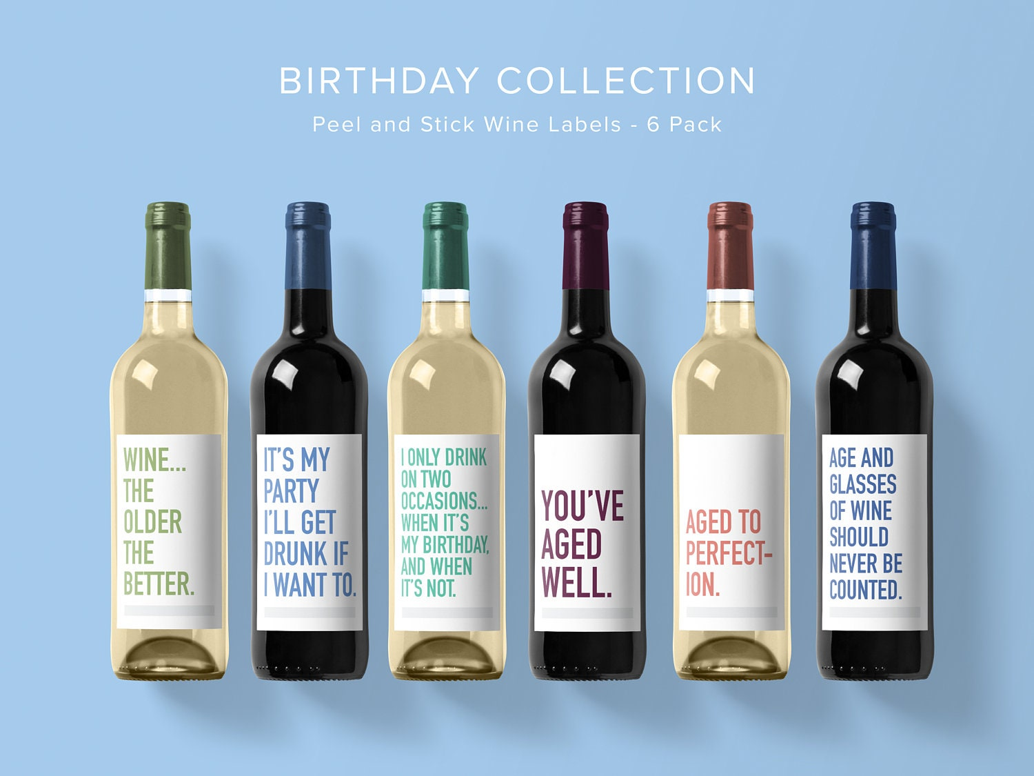 Birthday Wine Label Collection Wine Label 6 Pack Funny