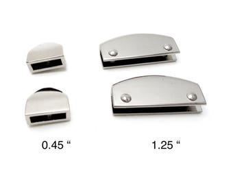 """2 PCS of  app. 1/2 """" or 1 1/4 """"silver/chrome metal strap end for purse/bag/tote/belt"""