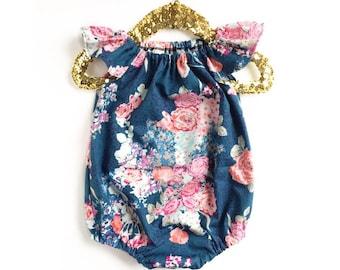 Baby Romper, Floral Bubble Romper, Toddler Romper, Navy Romper, Floral Romper, Summer Baby Clothing, Flora Blue, Spring Romper