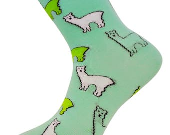 Mint Green Mens Socks with Llama Design by Frederick Thomas of London FT4012 fun, funky, colorful, wacky