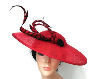 Red and black lampshade hat,Kentucky derby hat,Red ascot hat,Red derby hat,Races hat red,Red wedding hat,Red Feathers hat,Red hats for women
