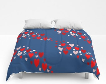 Navy Blue Red Hearts Comforter Navy Blue Red Hearts Duvet Hearts Comforter Hearts Duvet King Duvet Queen Duvet Full Duvet King Comforter