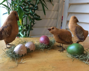 Primitive Easter Chicks with Painted Eggs - Spring Decoration - Country Decor - # Chicks  with 3 Eggs