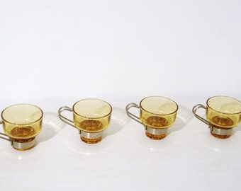 Vintage glass and steel café(X4) Cup stainless mustard years 70