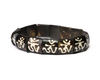 Tibetan Om Yak Bone Elastic Bracelet Unisex Design Tribal Bracelet Aum Bracelet Yoga Bracelet Giftbag  Free UK Delivery