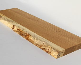 """White Oak Live edge floating shelf Item #151 Complete with Mounting Bracket,Hardware, and Instructions for Installation 10"""" x 34"""""""