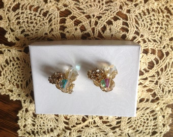 Vintage Cluster AB clip earrings
