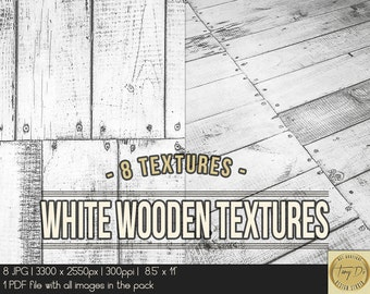 White wooden textures | 8.5x11 Printable Digital Papers | Set of 8 Textured Scrapbook Papers | Digital scrapbook | Photo Paper overlays