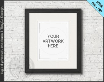 White & Black Wood Frame Mockup | 4 PNG scene | 8x10 Empty Frame on Brick Wall Styled Mockup W10 | Portrait Landscape Frame