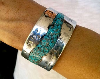 Turquoise Aluminum Cuff Bracelet.  3.2 X 32mm Thick and Wide. Polished.